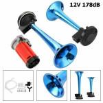178DB Super-Loud Blue 12V Air Horn Dual Trumpet Compressor Car Truck Train