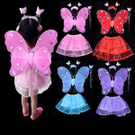 red fairy butterfly wings fairy wand and girls short mini tutu skirts for kids