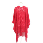 Wholesale bright V collar shawl,hollow out acrylic shawl