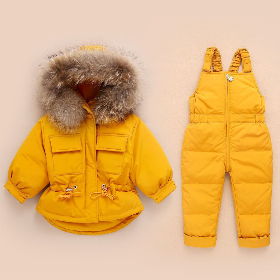2Pcs Children Clothes Sets Baby Girls Boys Winter Fur Hooded Jacket+Romper Overalls Suit for Baby Thicken Ski Snow Warm Clothing