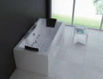 Whirlpool Massage spa Acrylic  Bathtub hotel LED jet 2 person sided skirt bath with glass