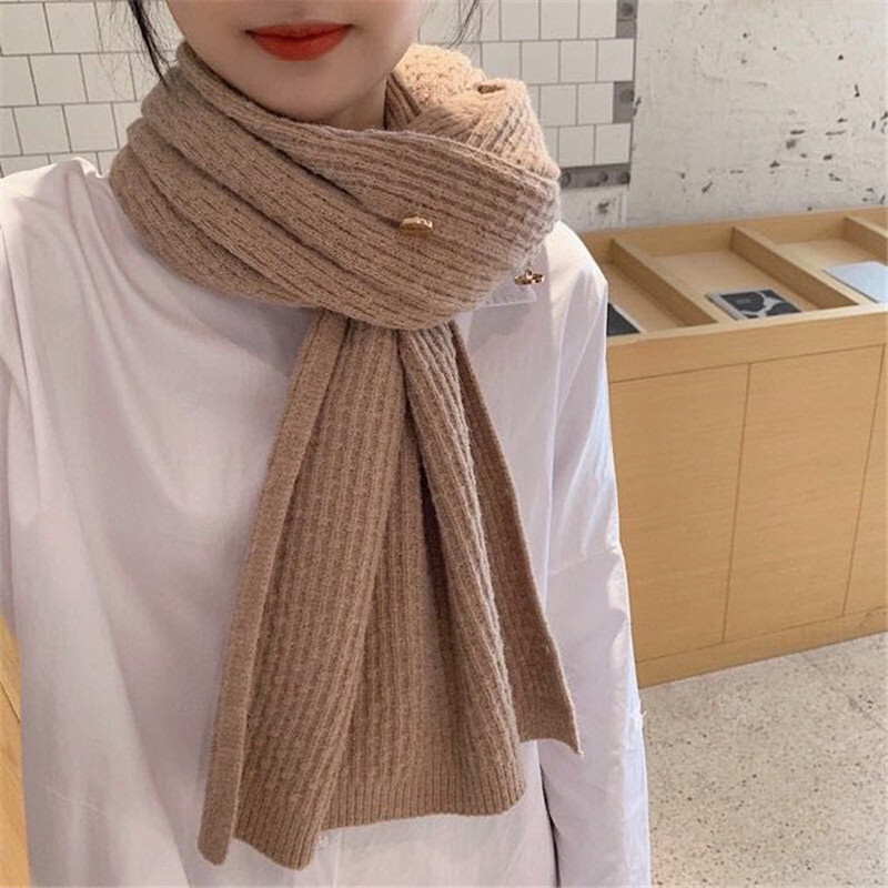 New Knitted Shawl Women's Multi-Purpose Versatile Scarf Cashmere Dual-Use Metal Buckle Wool Cloak Scarf Winter