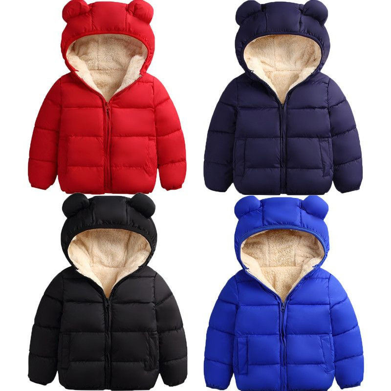Baby Winter Coat Kids Casual Solid 3D Bear Ear Hooded Down Jacket Overalls Snow Warm Clothes For Children Boys Girls Body