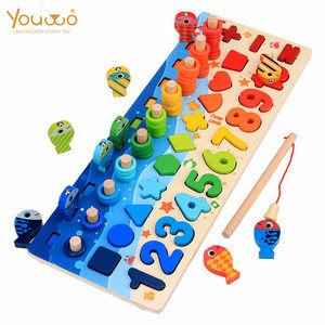 Kids Montessori Arabic Educational Fishing Game Board Funny Wooden Toys For Kids