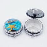 OEM design Round portable pill storage case with mirror