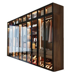 Import Trlife Cloakroom Clothing Closet Glass Door Wardrobe Cabinet Wooden Almirah Designs Photos Bedroom Furniture With Led Light From China Find Fob Prices Tradewheel Com