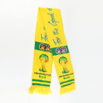 2018 Newest top quality custom portable yellow world competition support knitted football sport scarf