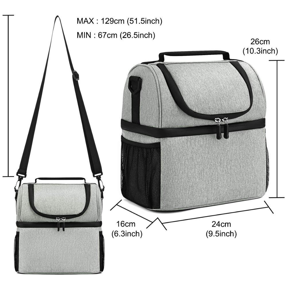 Double compartment food carry warmer bag lunch cooler bags for school kids