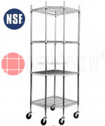 NSF 4 Tiers Pentagon Wire Shelf with Wheels,Easy Assemble