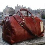 Vintage Leather Travel Duffel Bags Weekend bag with shoes pocket