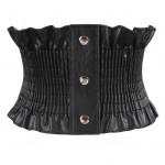 Elastic and wide waist enveloping dress down jacket waist decoration simple and versatile black belt