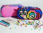 students puzzle pixels silicone pencil case