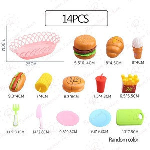 14pcs Interactive Toys Kids Super DIY Food Combo Kitchen Toys Pretend Play Hamburger Bread Cutting Indoor Games 3D Puzzle Toy