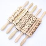 custom logo christmas embossing  wood rolling pin
