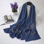 Wholesale factory supply Korean style high quality embroidery scarf hijab muslim four season shawl wrap