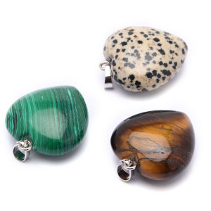 Natural Crystal Heart Shape Stones Pendants