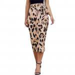 2021 New Summer Leopard Print Satin Wrap Belt Wrap Women Midi Skirt