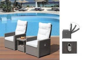 LFZS0088 Lounge and garden chairs garden recliner Lounge Chairs lounge 2 chairs 1 table