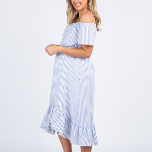 Import Mgoo Custom Light Blue Striped Pregnant Dress Off Shoulder Maternity Wear Maternity Clothing With Ruffle Hemline From China Find Fob Prices Tradewheel Com