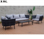 Garden Treasures Polyester Rope Sofa Outdoor Furniture White/balck Powder Coated Sofa Set