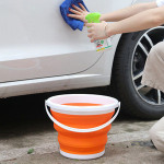 Portable folding bucket with lid Household silicone plastic bucket outdoor car wash fishing pen bucket L0385