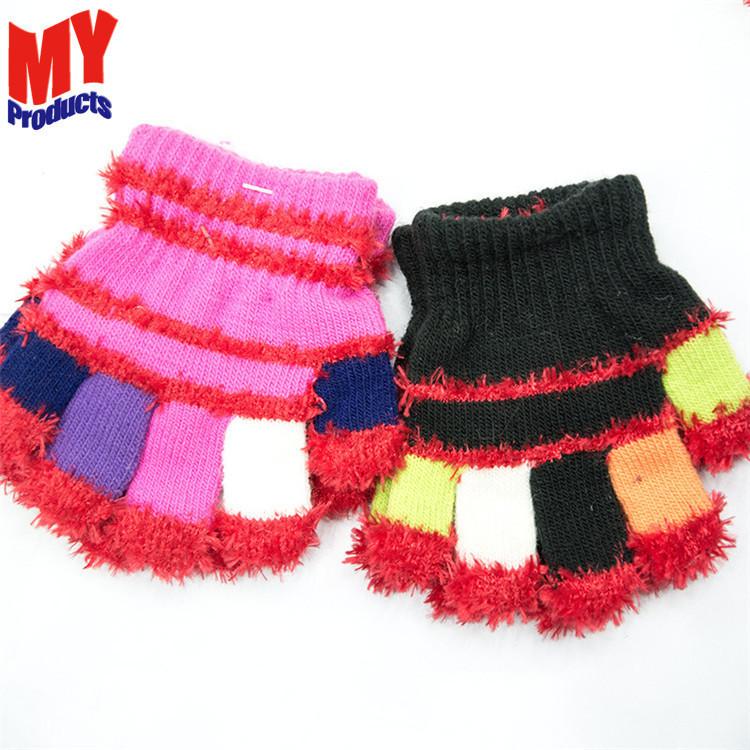Warm baby feather yarn gloves with rope children soft gloves