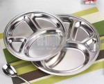 GUANGDONG KINGKONG Wholesale 4 compartments  metal stainless steel round serving tray round food dish