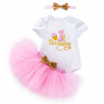 One Years Birthday Baby Clothing Sets Baby Tshirt Jumpsuit Outfits Clothes Lace Skirt Baby Girls Romper Suit