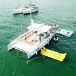 11.56 M 38ft catamaran twin outboard engine 12 seats sailboat