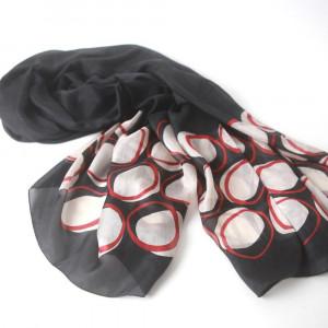 long black silk pongee scarf with white bubble print,silk paj scarf