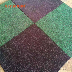 White and colorful EPDM fleck rubber floor tiles for GYM with high density