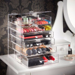 6 Tier Clear Acrylic Cosmetic Makeup Organiser Storage Box Case Drawers