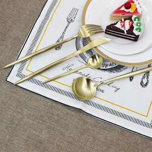 elegant Sets Stock matte Gold cutlery,18/10 gold set stainless flatware/silverware/tableware/stainless steel cutlery sets