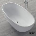 kingkonree artificial stone glossy matt hot sale oval style custom size freestanding stone bath