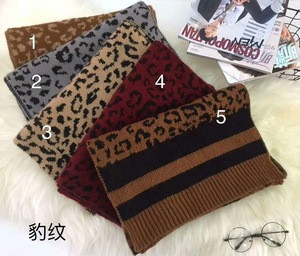 Fashion With Leopard & Stripes Knitted Acrylic Scarves Winter Warms Shawls