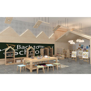 Moetry Durable Wooden Kids Furniture Classroom Desks And Chairs for Play School Guangzhou Factory