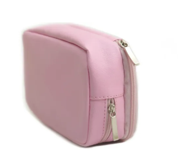 Pink Cosmetic Brush Bag with Double Zipper
