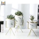 Ceramic Marble Pot with Metal Stand Porcelain Succulent Plants Pot