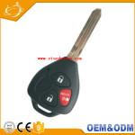 Custom Logo Black ABS Car Remote Control Auto 3 Buttons Car Key For Toyota