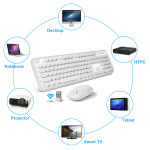 V2020 2.4GHz Waterproof Keyboard Optical Wireless Gaming Mouse with 3 Adjustable DPI White Wireless Keyboard Mouse Combo