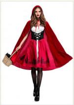 Halloween Costumes For Women Sexy Cosplay Little Red Riding Hood Fantasy Game Uniforms Fancy Dress Outfit  Party Decorations 2Pc