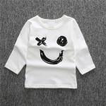 Long sleeve letter printed grey baby boy t shirt