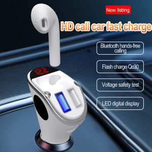 New innovation dual usb car phone charger with tws earphone headset in-ear earbuds
