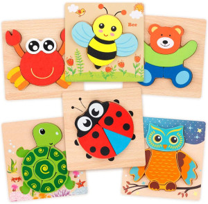 Animal Wooden Jigsaw Puzzle Fine Motor Skill Early Learning Preschool Educational Gift Baby Montesorri Wooden Toys