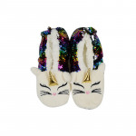 Advantageous price fashion skin friendly keep warm home boots indoor soft fabric bling christmas shoes