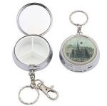 Custom Souvenir Metal Pill Min Case Small Siver Pill case keychain Pill Storage