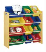 Wholesale wooden kids toy storage organizer with 12 plastic bins
