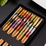 Hot Sale Bulk Cheap Prices Japanese Korean Style Printed Reusable Bamboo Wood Sushi Chopsticks