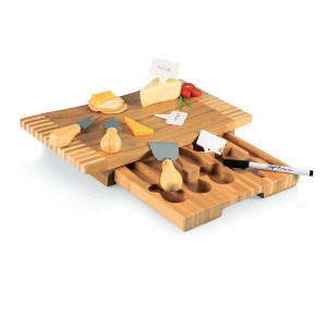 Natural bamboo cheese board with tools