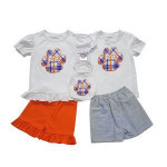 Customized kids white tops and shorts cute embroidery baby little girls clothing children's boutique outfits